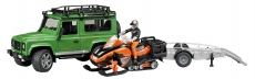 Land Rover Defender cu snowmobil