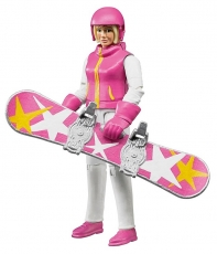 Snowboarder cu accesorii